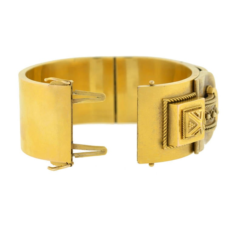 Women's Victorian Double Buckle Etruscan Bangle Bracelet For Sale
