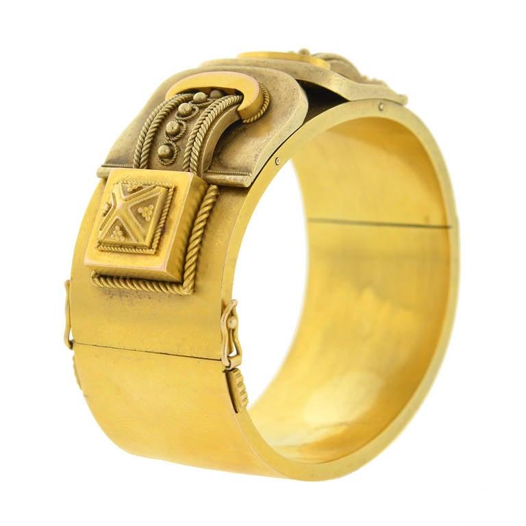 Victorian Double Buckle Etruscan Bangle Bracelet For Sale 1