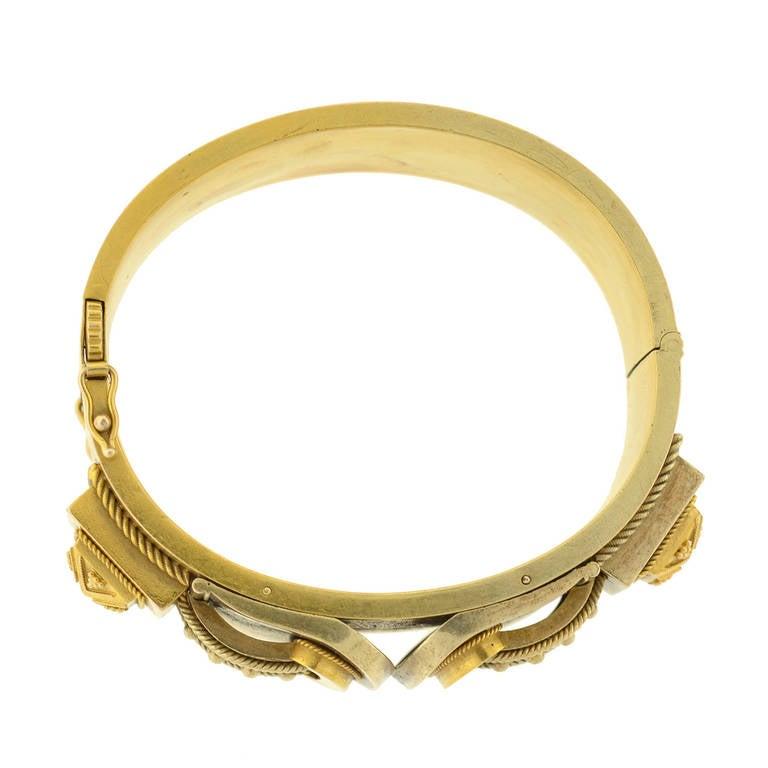Victorian Double Buckle Etruscan Bangle Bracelet For Sale 2