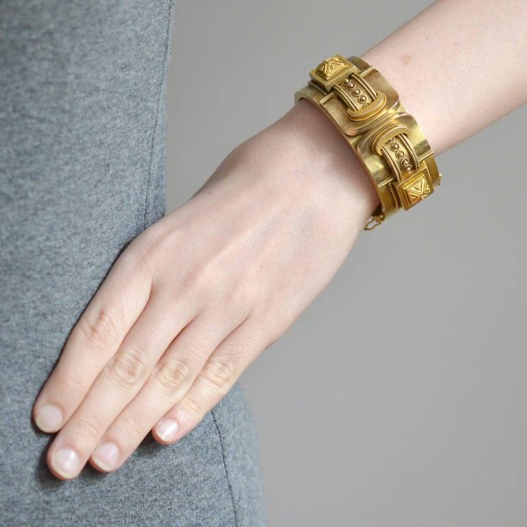 Victorian Double Buckle Etruscan Bangle Bracelet For Sale 3