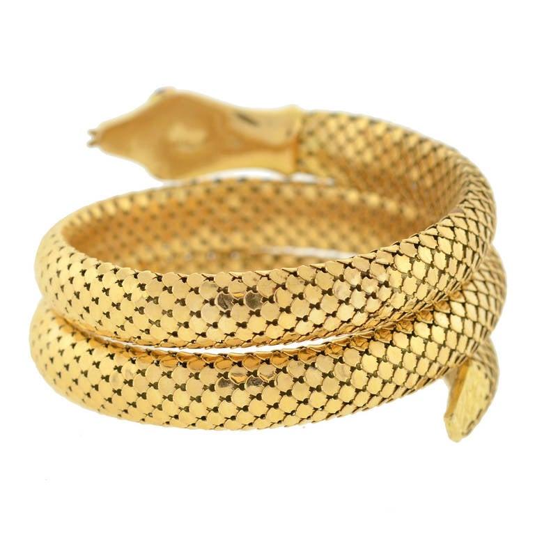 Retro Gold Flexible Wrap-Around Coiled Snake Bracelet 4