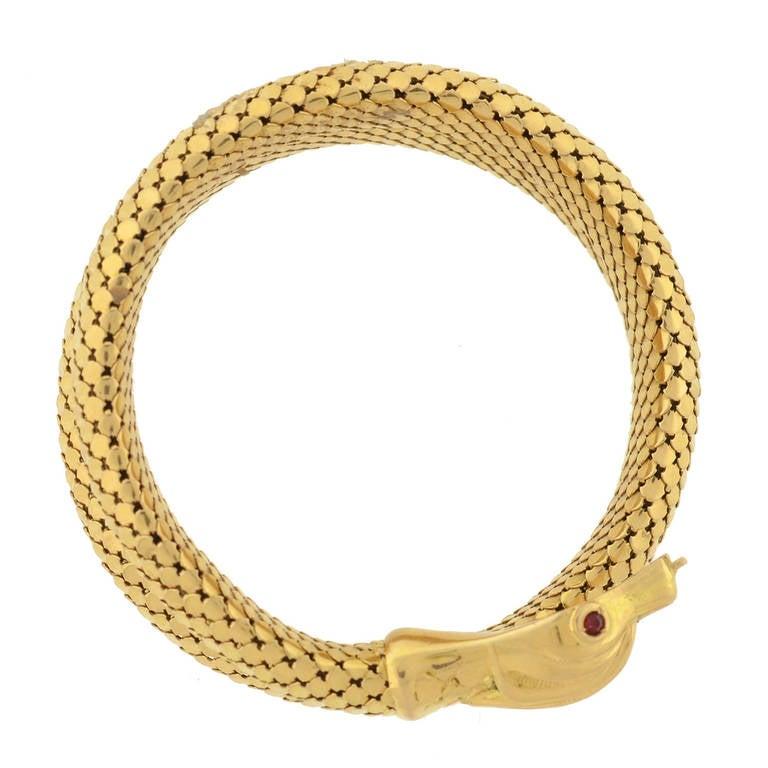 Retro Gold Flexible Wrap-Around Coiled Snake Bracelet 7
