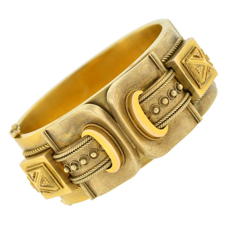 Victorian Double Buckle Etruscan Bangle Bracelet