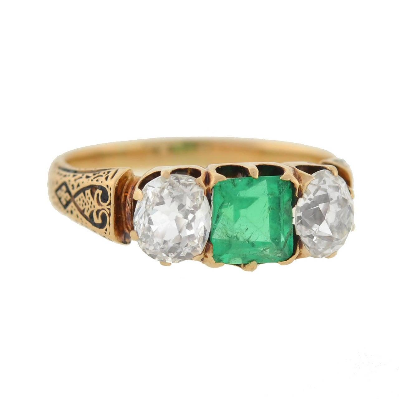 Victorian Diamond Emerald Gold Three Stone Ring