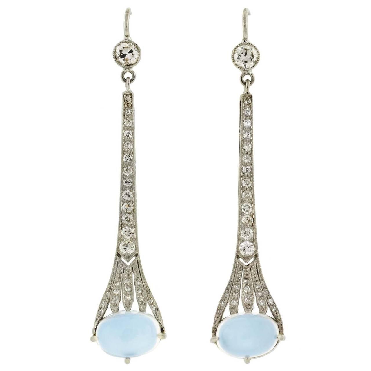 art deco dramatic moonstone diamond platinum dangle earrings at 1stdibs. Black Bedroom Furniture Sets. Home Design Ideas