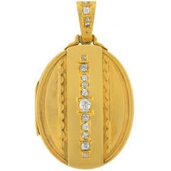 Victorian Old Mine Cut Diamond Gold Locket