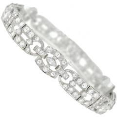 Art Deco Diamond Platinum Filigree Line Bracelet