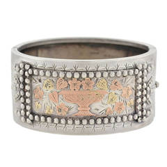 Tiffany & Co. Victorian Sterling Mixed Metals Bangle Bracelet
