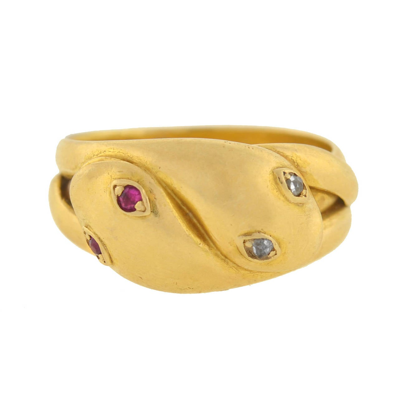 Victorian Ruby Diamond Gold Double Snake Band Ring