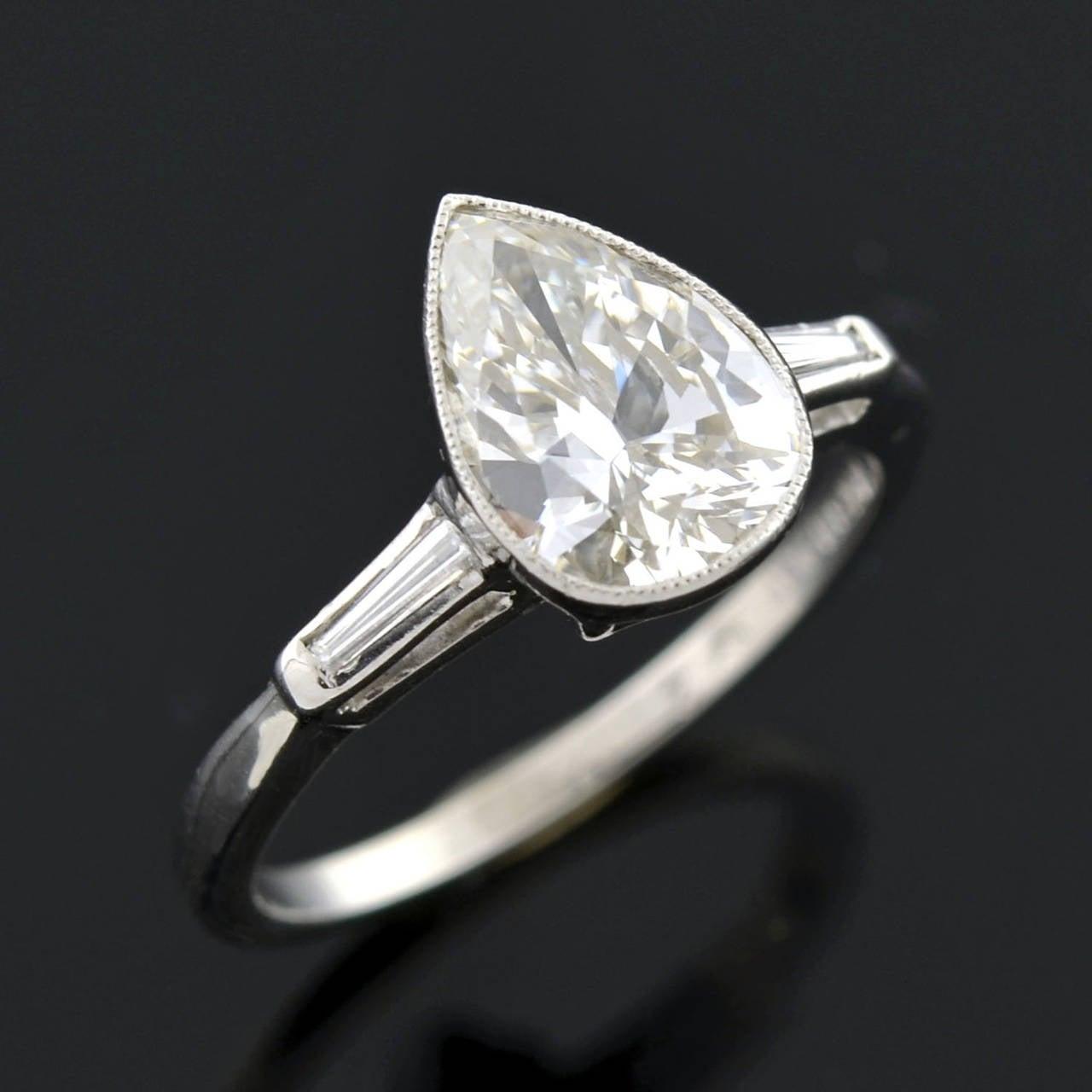 retro pear cut 2 00 carat platinum engagement ring