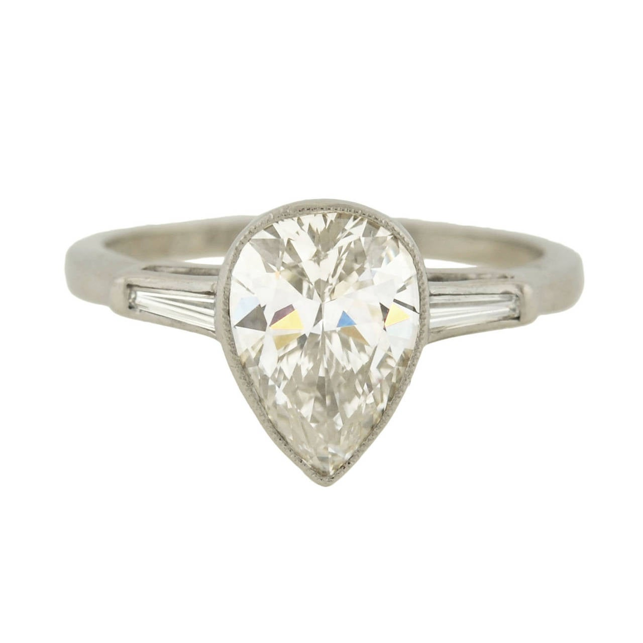 Retro Pear Cut 2 00 Carat Diamond platinum Engagement Ring at 1stdibs