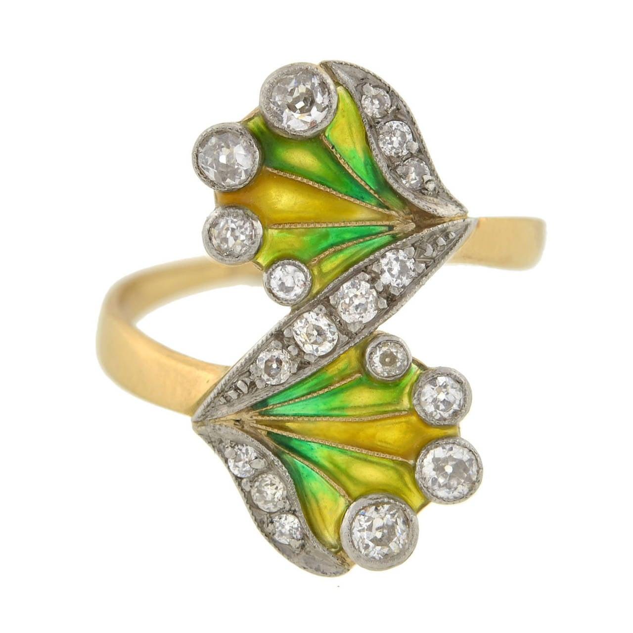 Art Nouveau Plique à Jour Diamond Gold Ring 1
