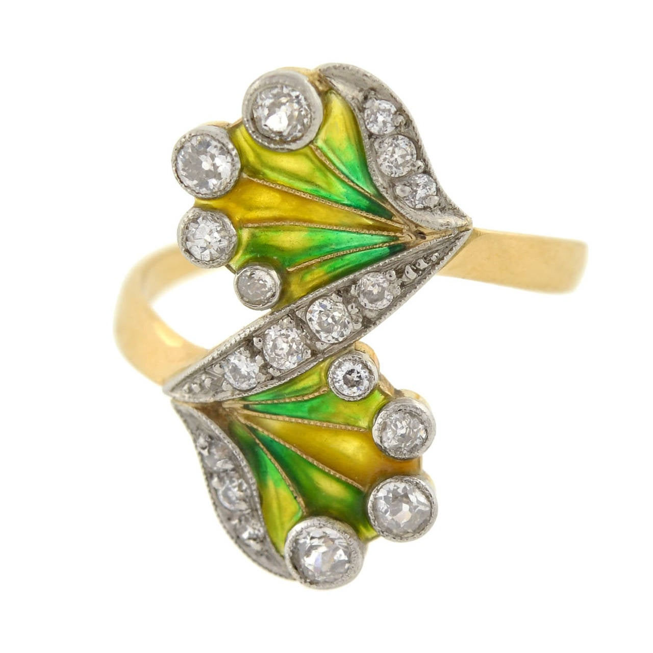 Art Nouveau Plique à Jour Diamond Gold Ring In Excellent Condition For Sale In Narberth, PA