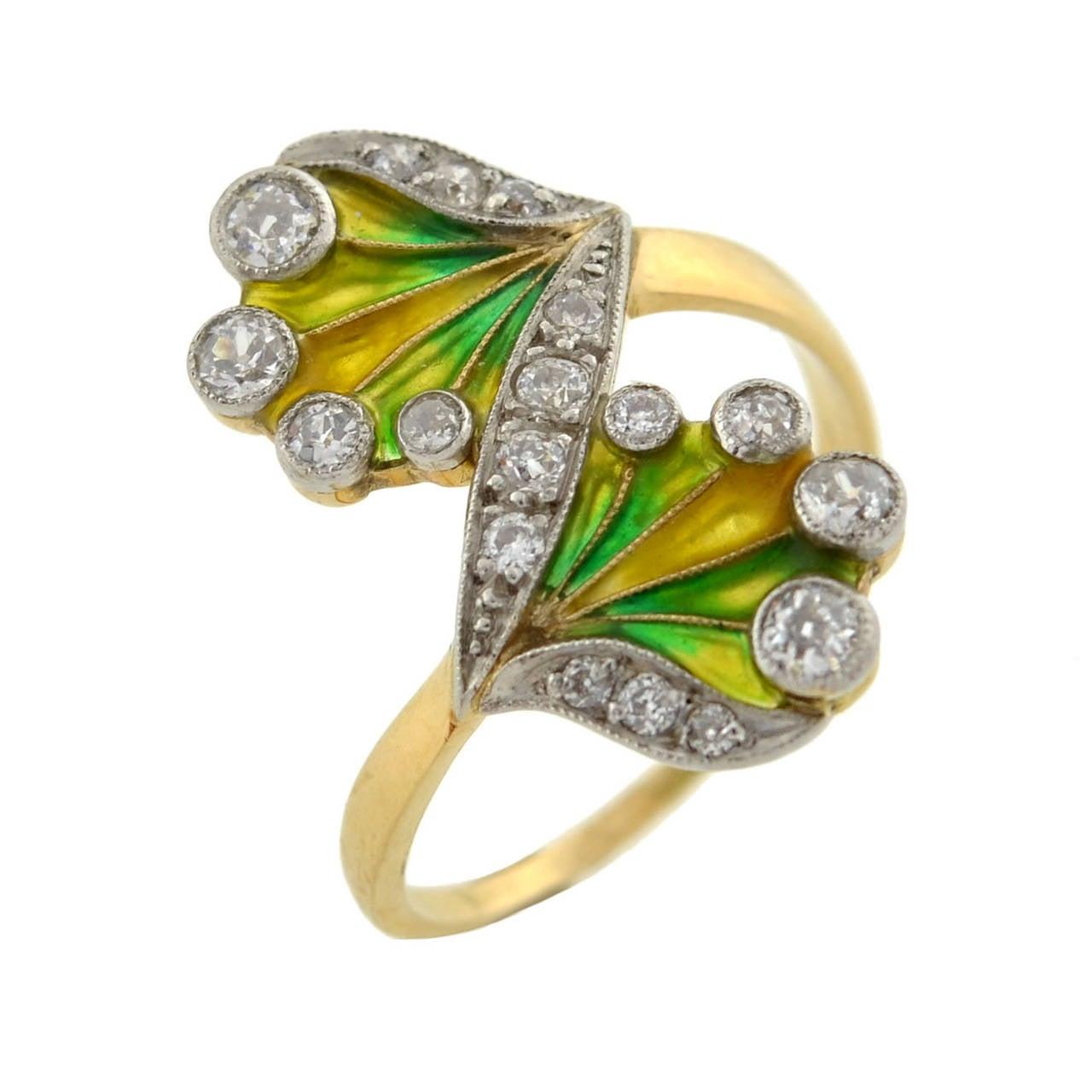 Art Nouveau Plique à Jour Diamond Gold Ring 4