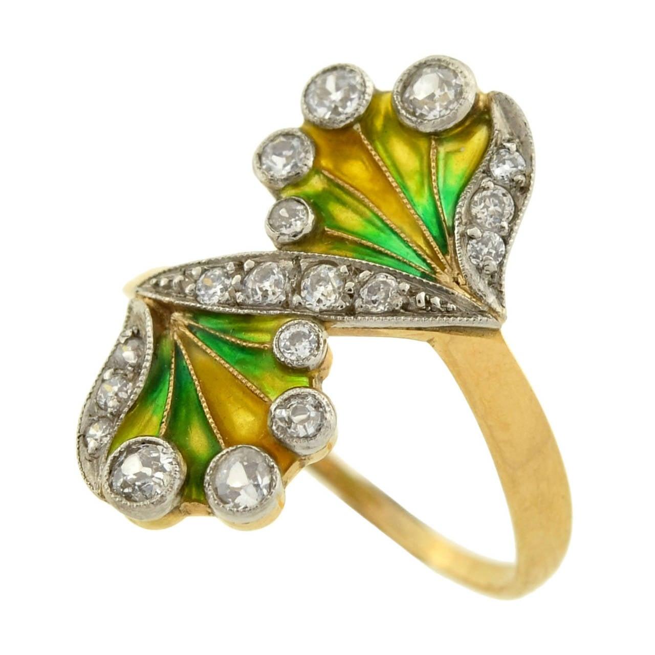 Art Nouveau Plique à Jour Diamond Gold Ring 5