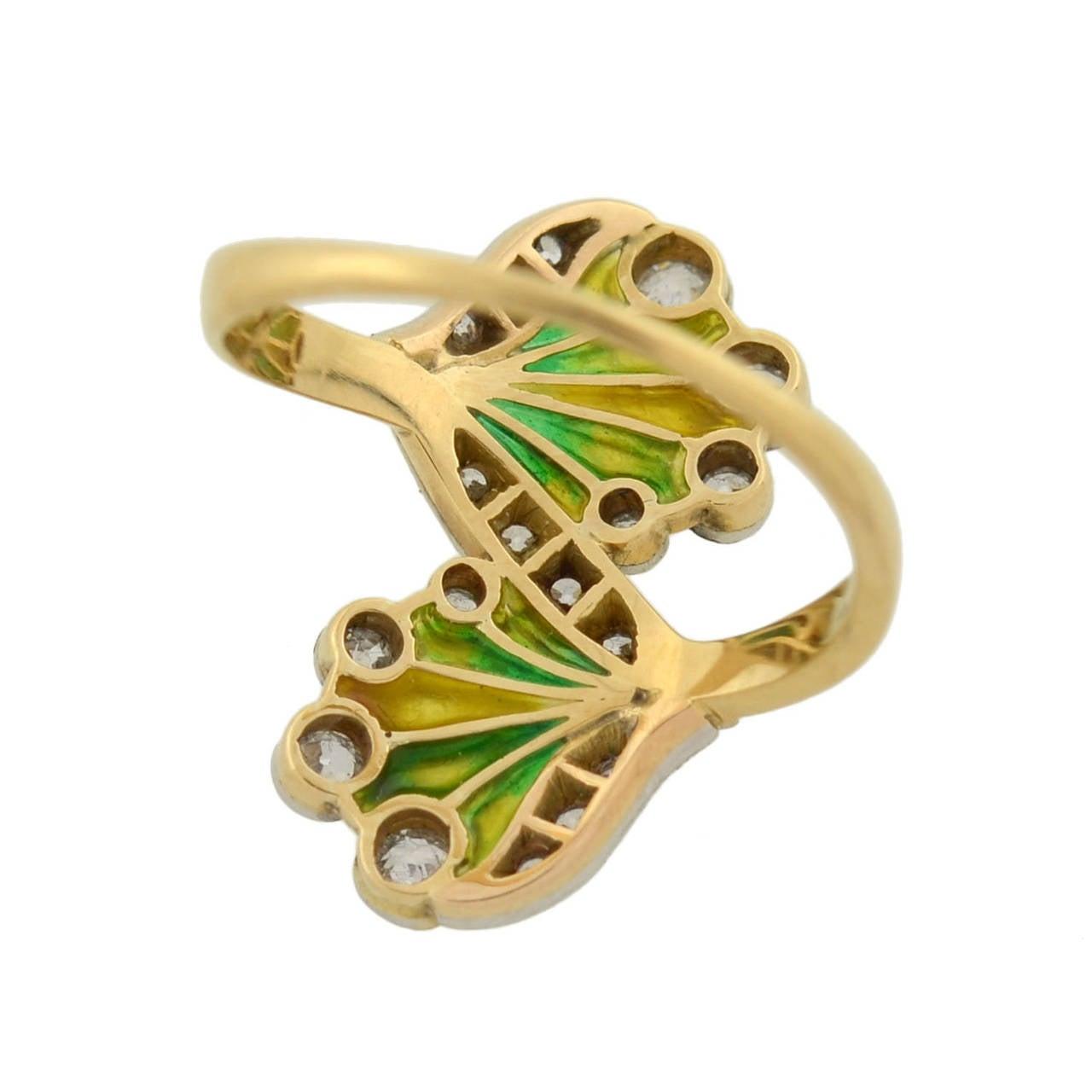 Art Nouveau Plique à Jour Diamond Gold Ring 6