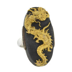 Victorian Dragon Shakudo Plaque Ring