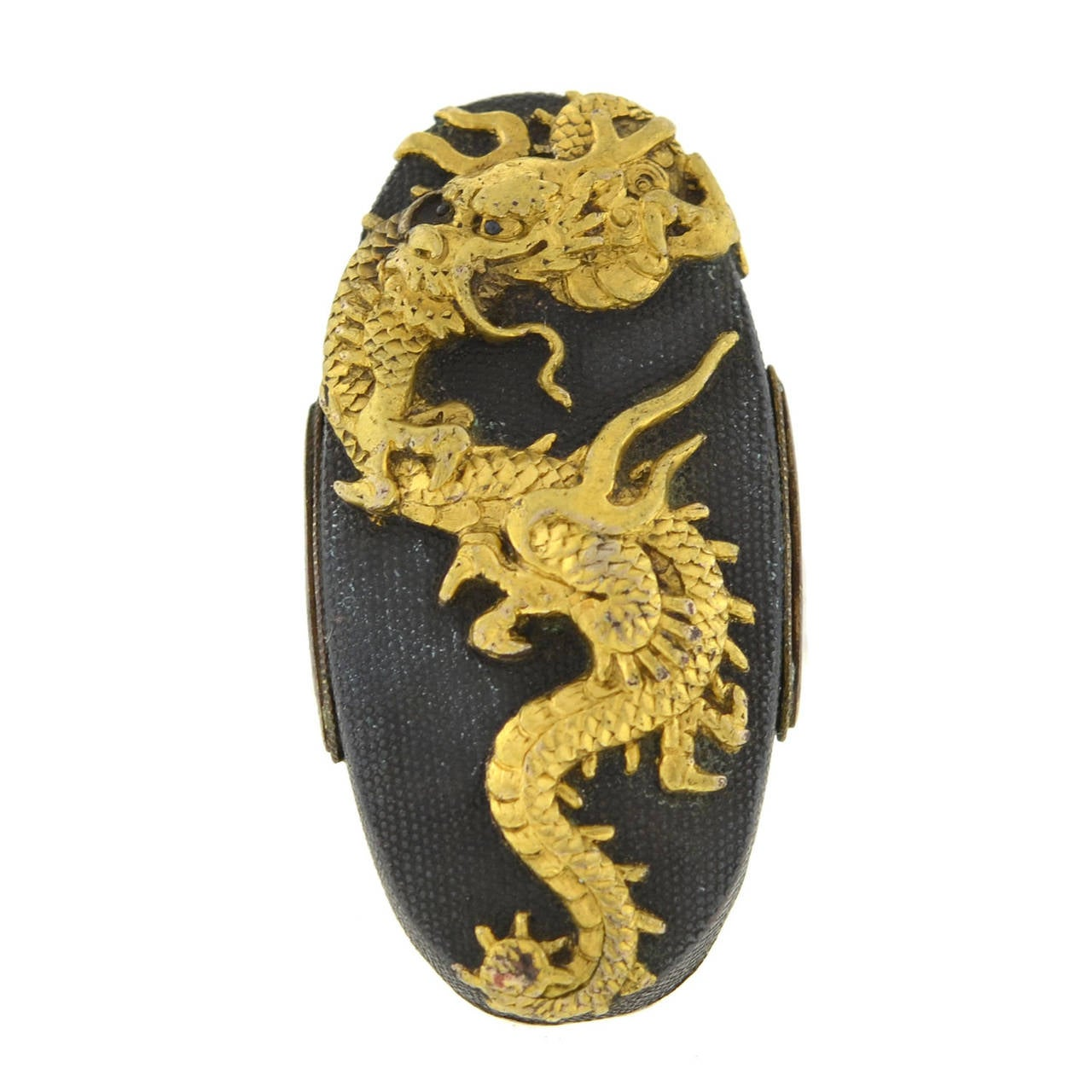 Victorian Dragon Shakudo Plaque Ring In Excellent Condition For Sale In Narberth, PA