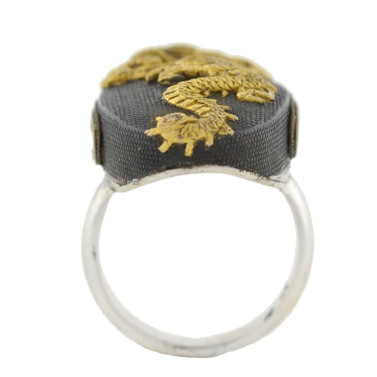 Women's Victorian Dragon Shakudo Plaque Ring For Sale