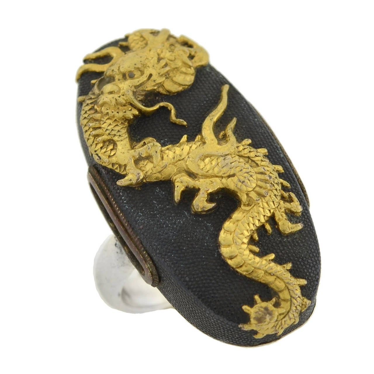 Victorian Dragon Shakudo Plaque Ring For Sale 1