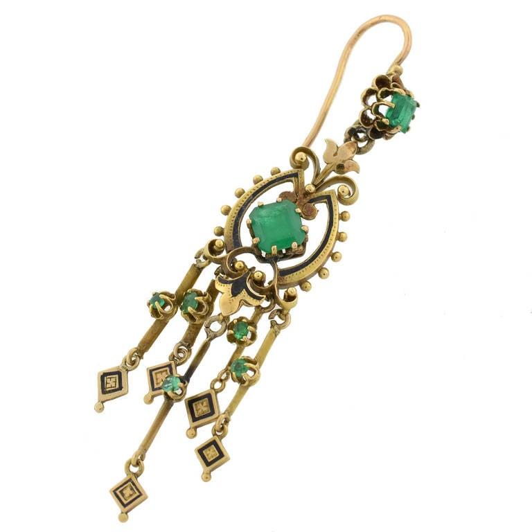 Victorian Enamel Emerald Gold Drippy Earrings At 1stdibs
