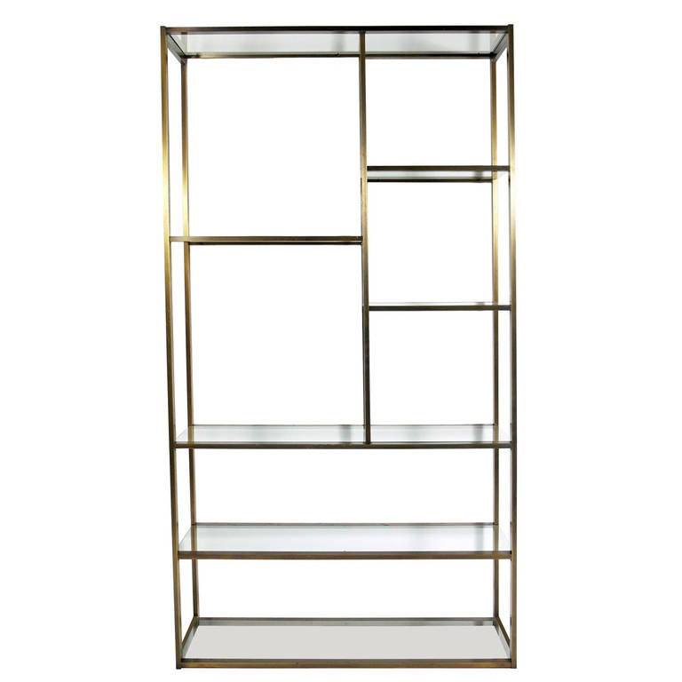 Modernist etagere or bookcase in bronze finish at 1stdibs - Etagere cases carrees ...