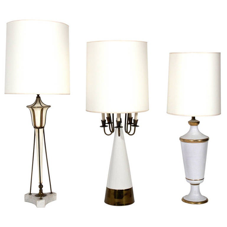 Elegant White and Brass Lamps in the Manner of Tommi Parzinger