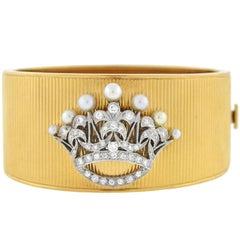 Retro Pearl Diamond Platinum Gold Crown Bracelet