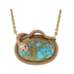 Victorian Turquoise Ruby Diamond Gold Snake Necklace
