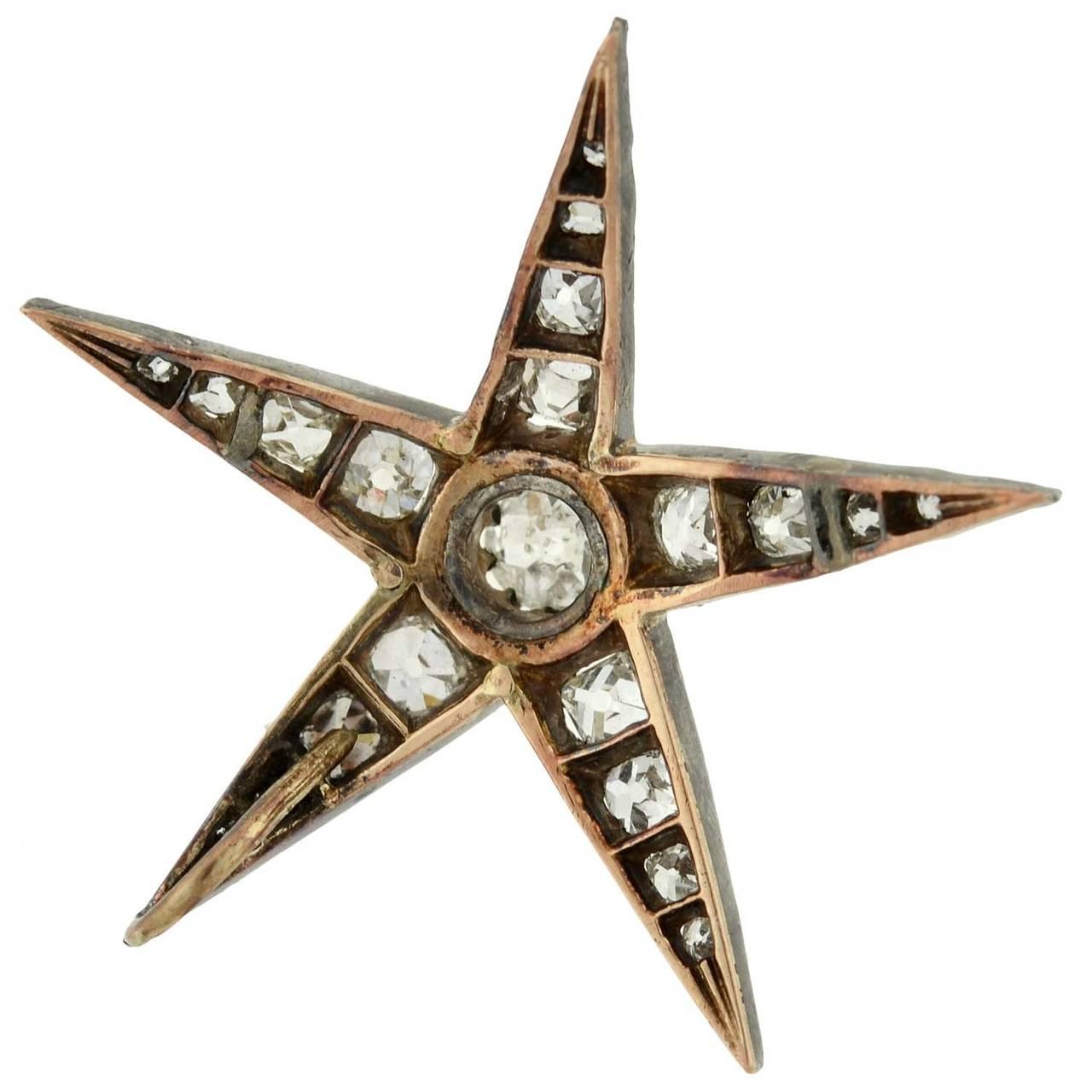 Victorian 3.50 Total Carat Old Mine Cut Diamond Star Pendant For Sale 1