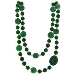 Art Deco Carved Jade and Rock Quartz Crystal Bead Necklace