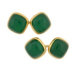 Larter & Sons Late Art Deco Chrysoprase Gold Cufflinks