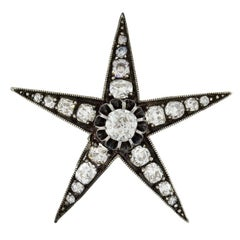 Victorian 3.50 Total Carat Old Mine Cut Diamond Star Pendant