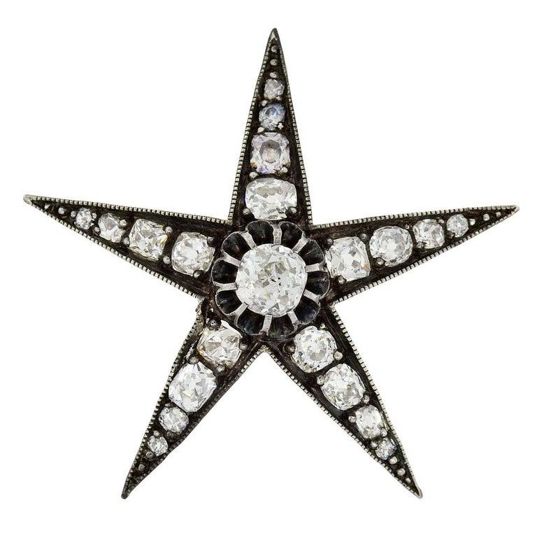 Victorian 3.50 Total Carat Old Mine Cut Diamond Star Pendant For Sale