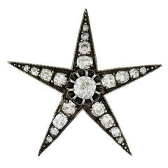 Victorian Mine Cut Diamond Star Pendant