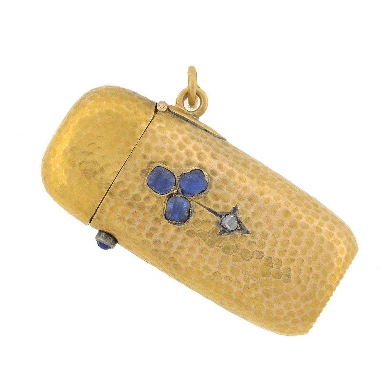Victorian French Sapphire Diamond Gold Trefoil Match Safe
