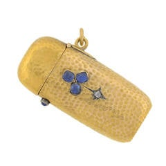 Victorian French Sapphire Diamond Gold Trefoil Match Safe