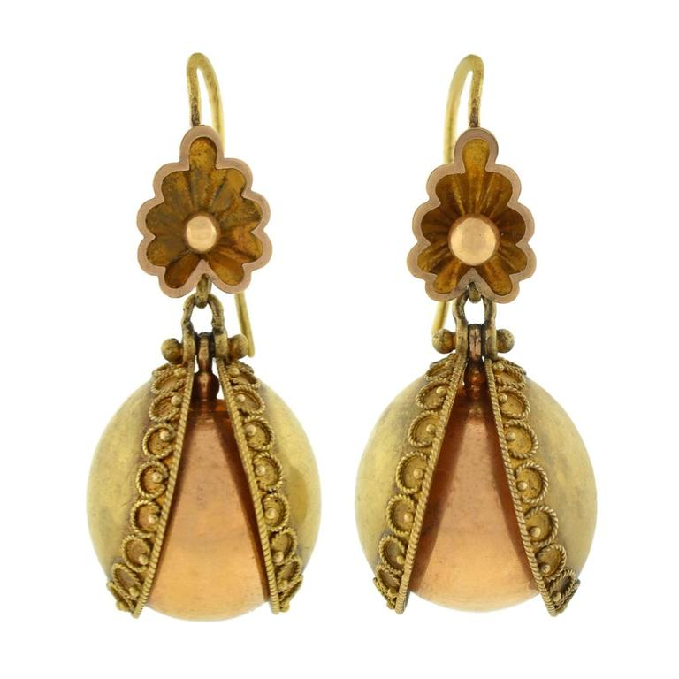 Antique Etruscan Revival Gold Acorn Earrings For Sale At 1stdibs
