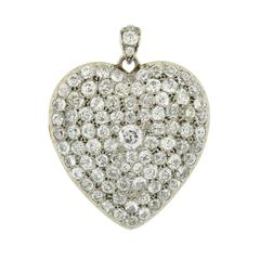Edwardian Pave Diamond Platinum Heart Locket