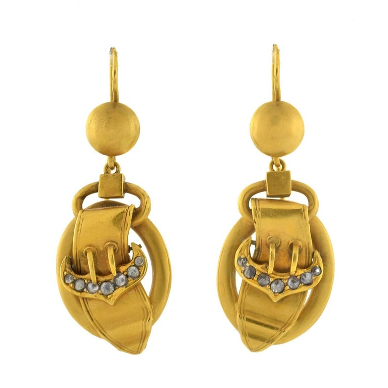 Victorian Rose Cut Diamond Gold Buckle Earrings