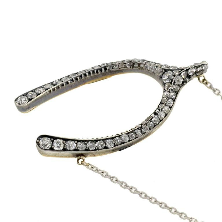 Victorian Silver Topped Diamond Wishbone Pendant Necklace For Sale 2