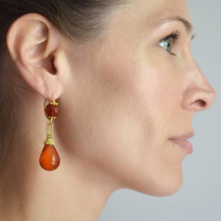 "Victorian ""Day and Night"" Etruscan Carved Amber Gold Earrings For Sale 4"
