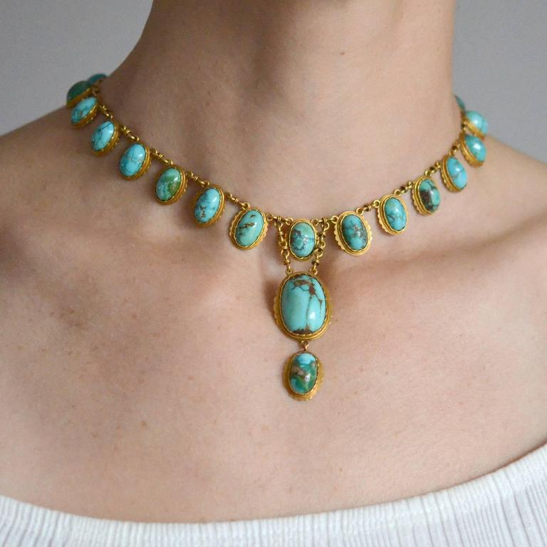 Victorian Natural Turquoise Drop Collar Necklace 9