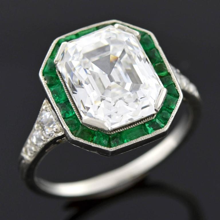 deco colorless 3 63 carat emerald cut