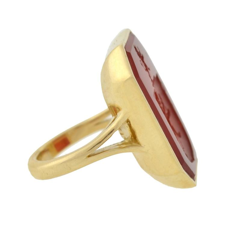 Victorian Carnelian Crest Gold Mounted Signet Ring 2