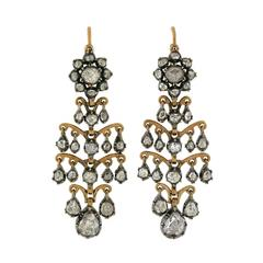 Antique French Dramatic Rose Cut Diamond Earrings