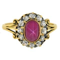 Victorian 0.95 Carat Pink Star Sapphire Diamond Ring