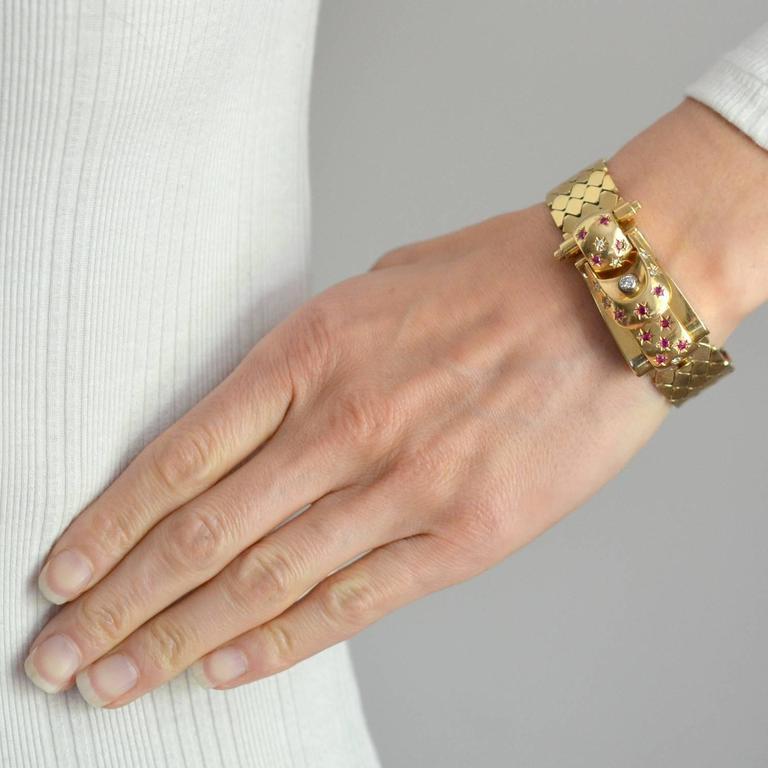 Retro Yellow Gold Diamond Ruby Buckle Bracelet Wristwatch For Sale 4