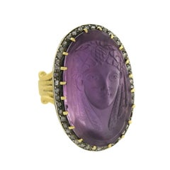 Art Nouveau Egyptian Revival Diamond Amethyst Cameo Pharaoh Ring