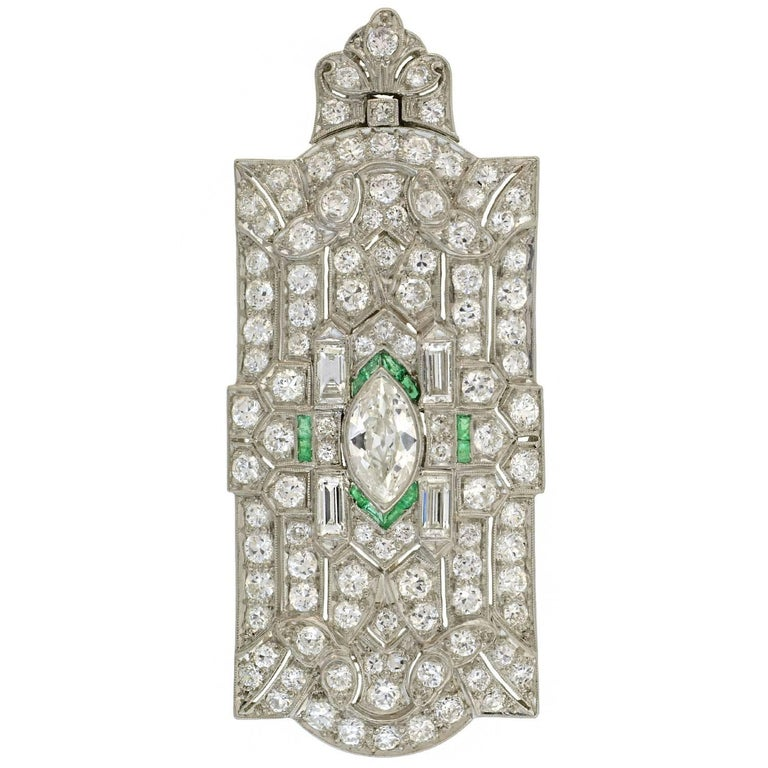 Art Deco Emerald Diamond Encrusted Pin or Pendant with Removable Bail